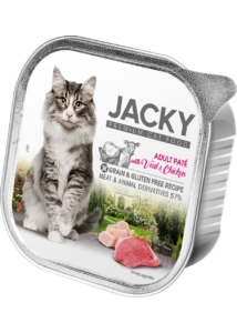 Jacky alutálka pástétom borjú-csirke 100g felnőtt macskáknak