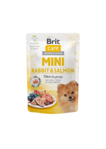 Brit Care Mini Rabbit & Salmon fillets in gravy 85g