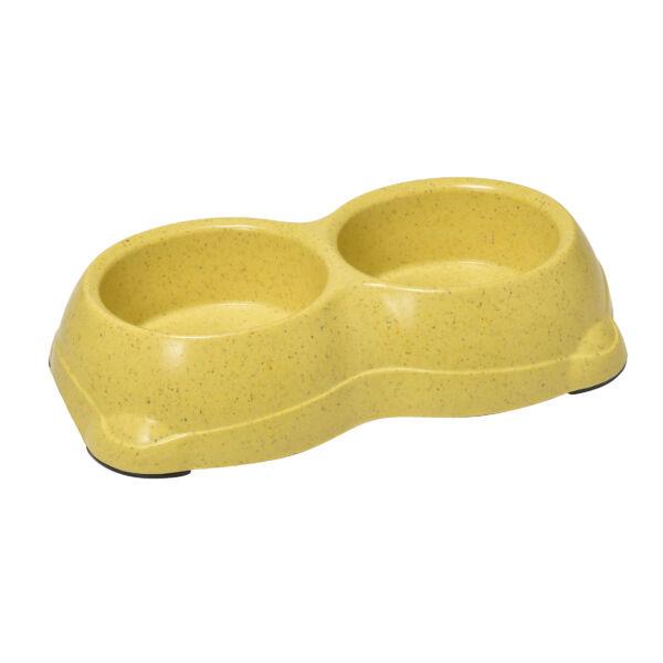 RECORD BAMBOO Bambusz-műanyag dupla etetőtál Sárga 22.5*11*5.5 cm 2x250 ml