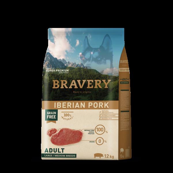 Bravery Iberian Pork Adult Large/Medium Breeds 12 kg kutyatáp