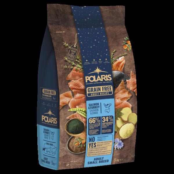 """POLARIS 5 kg Small lazac-pulyka  + ajándék Flexi Comfort """"S"""" fekete (tape)"""