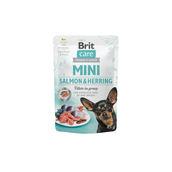 Brit Care Mini Salmon & Herring sterilised fillets in gravy  85g